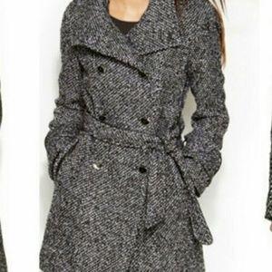 Calvin Klein Gray Black Tweed Wool Peacoat Jacket